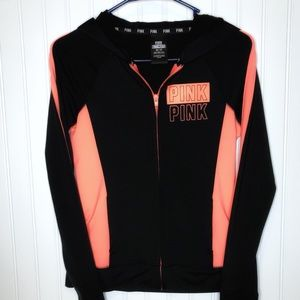PINK Black and Orange Zip Hooded Sweatshirt, XS